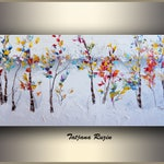 Oil Painting by Tatjana, Winter, Trees,Original Art on Canvas, Abstract Painting, Original Painting, Landscape Painting, Modern Art Painting