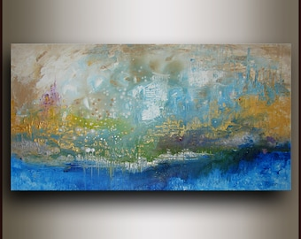 Free Shipping 24x48 ORIGINAL ABSTRACT Painting on stretched canvas by Tatjana Ruzin - texture - expressionist - green - blue