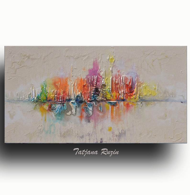 Skyline Abstract painting Colorful Modern Oil Painting on image 0
