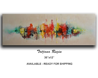 Skyline, Abstract painting, Colorful Modern, Oil Painting, on canvas, texture, Cityscape, Abstract Art, Wall Art, Original Artwork, Custom
