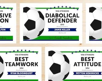 soccer award certificate templates