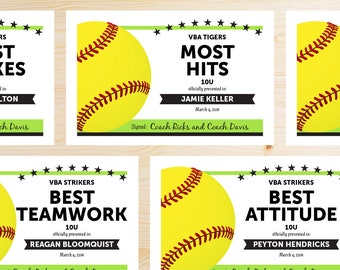 online template softball award certificates instant download etsy