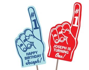 "Custom ""Foam Finger"" Photo Booth Props: Custom Birthday Printable"