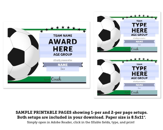 Editable Soccer Award Certificates Instant Download Etsy