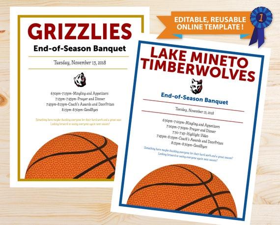 Online Template Basketball Banquet Program Instant Download Etsy