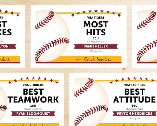 Editable Baseball Award Certificates Instant Download Etsy