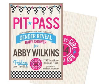 Racing Theme Gender Reveal Baby Shower Invitations: unique non-traditional baby shower
