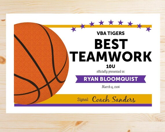 photograph about Printable Basketball Certificates known as Editable Basketball Award Certificates - Quick Obtain PRINTABLE - Crimson and Gold