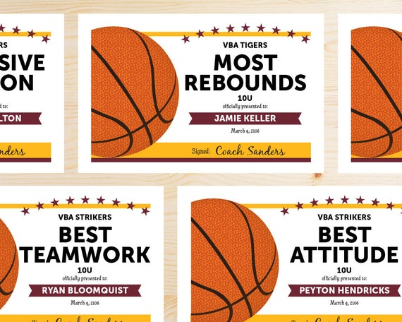 editable basketball award certificates instant download etsy