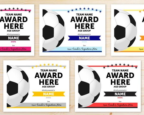 Online Template Soccer Award Certificates INSTANT DOWNLOAD Etsy