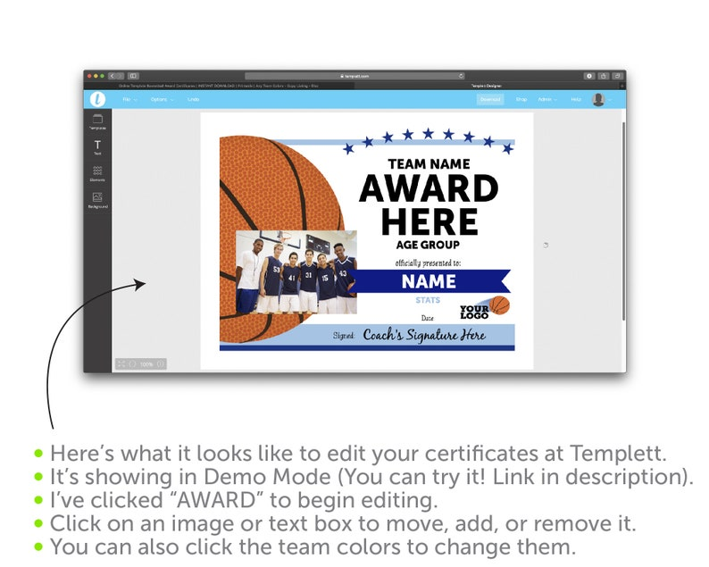 Online Template Basketball Award Certificates | INSTANT DOWNLOAD |  Printable | Any Team Colors