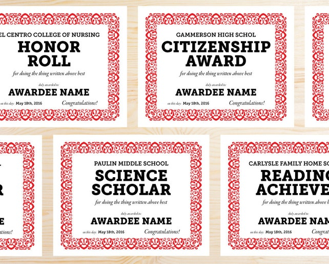 Editable School Award Certificates Instant Download Etsy