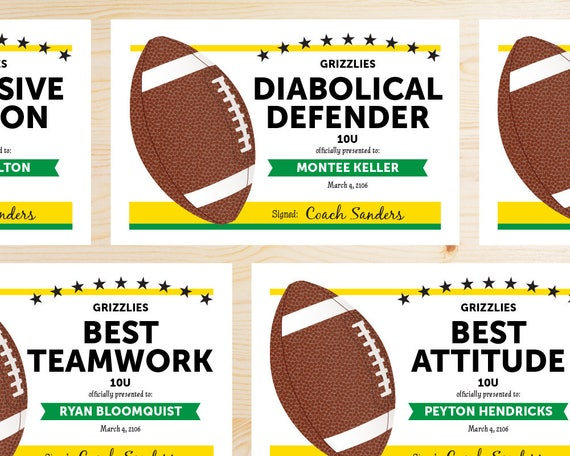 editable football award certificates instant download etsy