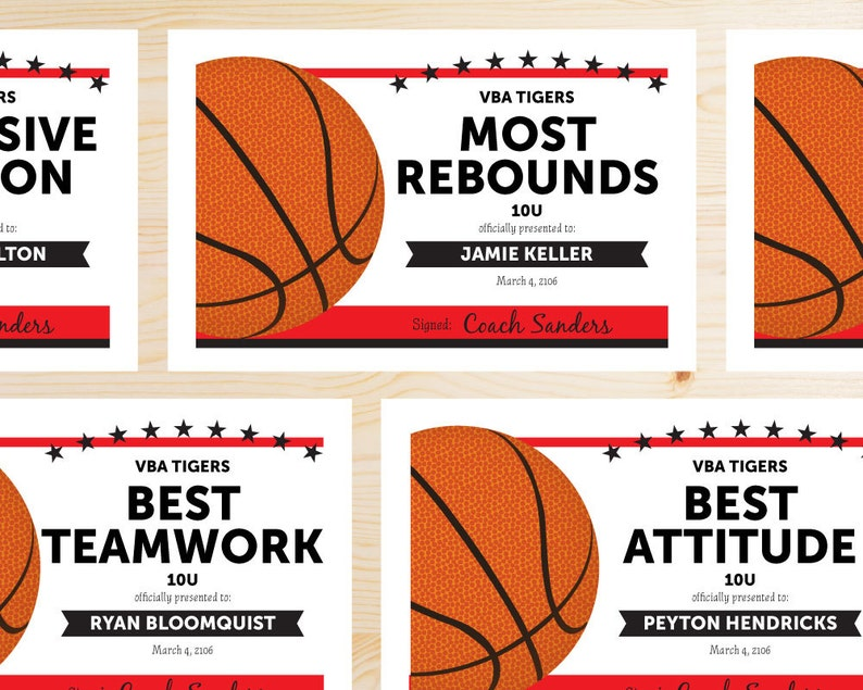 photograph relating to Printable Basketball Certificates identify Editable Basketball Award Certificates - Instantaneous Down load PRINTABLE - Crimson and Black