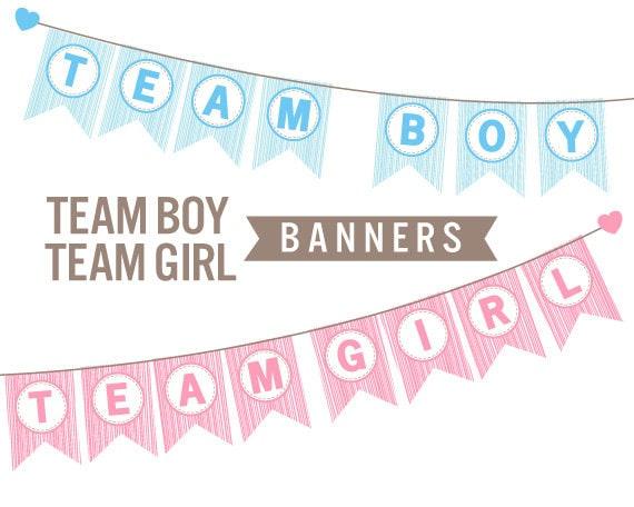 team girl team boy banners gender reveal baby shower etsy