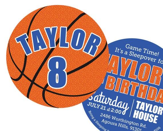basketball invitations birthday party 2 sided etsy