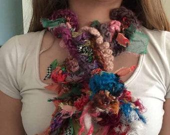 SALE! Versatile crocheted necklace or scarf felting and hand spun sari silk