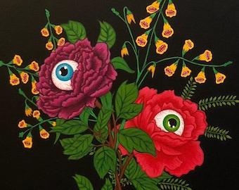 Eyeball Flower, For you 14x18 original acrylic painting