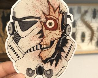 Blasted Stormtrooper Sticker with Mirror effect
