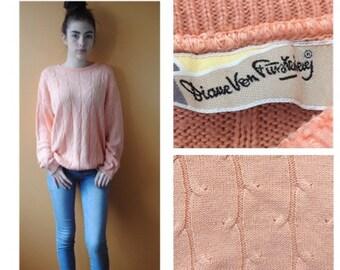 Vintage / Retro Diane von Furstenberg Peach Cable Knit Sweater circa 1980s