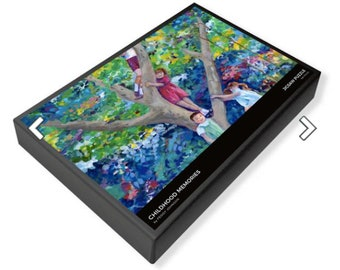 jigsaw puzzle children climbing tree Peggy Johnson every good color