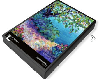jigsaw puzzle tranquil lake peggy johnson every good color