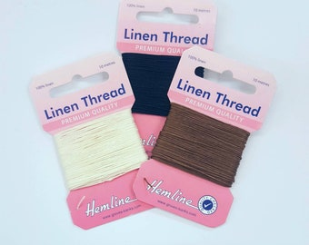 Linen thread for bookbinding, upholstery, leather and more. 1mm x 10 metres. Black, white or brown. 100% fine linen cord