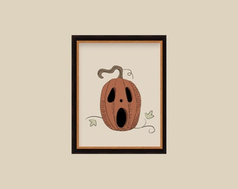 Vintage Halloween Illustration Posters Jack O Lantern Pumpkins