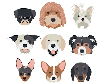 New (2.0) Puppy Dog Faces Posters for party and wall decor
