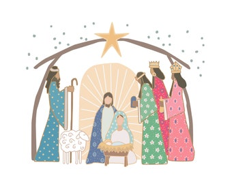 He is the Gift,  Christmas Nativity Art -  digital download