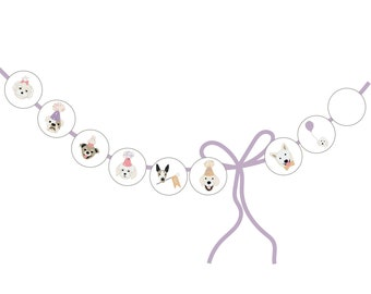 Birthday Puppies Lavender Circles - for Banner and Tags