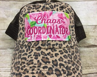 1371e718a0d Chaos Coordinator Distressed Trucker Hat Cheetah Print with Roses