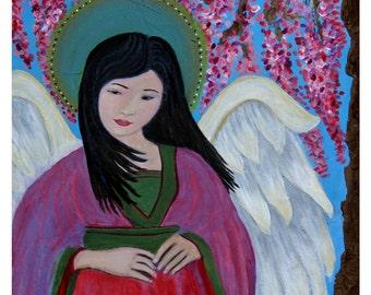 Original Fine Art 8 by 10 print Asian Angel, Child's Room Wall Art, pink, Girl's Room, Cherry Tree, Guardian angel, Child portrait, Angel