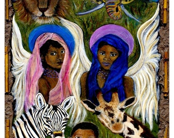 Original Fine Art 8 by 10 print called Earthangels Abeni and Adesina From Africa by Charlotte Phillips