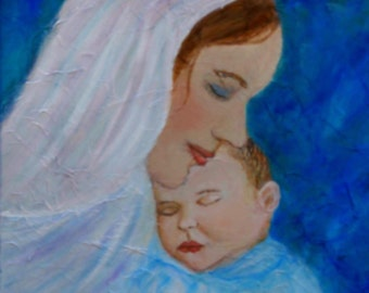 """Original Fine Art 8 by 10 print called """"Nuturing Love Of A Motherl"""" by Charlotte Phillips"""