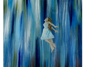 Original 8 by 10 Fine Art Print -Angel- Without wings-blue-Home Decor-girls room decor-wall decor-bedroom- spiritual-inspirational