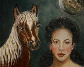 Original 8 x 8 Horse and Girl Fine Art Print, Inspirational, Home Decor, Moon-Moody, Elegant Lady/Horse Portrait, Mysterious, Feminine Power