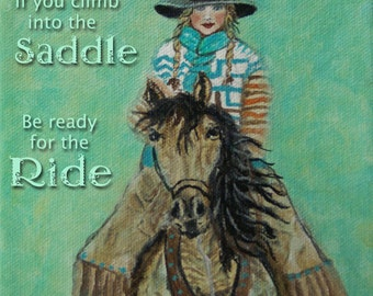 Original 8 x 8 Horse and Girl Fine Art Print-Inspirational-Home Decor-Typography-Green-Winter-Western-Courage-equestrian-equine, horse lover