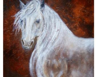 Original 8 x 10 White Horse Print,  Native American, Heart,  Western. Horse Lover. Rust, Home Decor, Kid's Room, Red,, Dreamy, Equestrian,