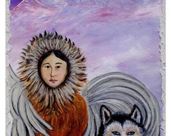 An Original Fine Art 8 by 10 Print, Alaskan Earth Angel Nunatqua with an Alaskan Husky Dog Companion Nanook,