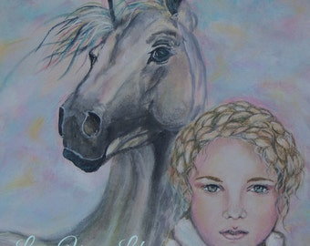 Original 8 x 10 Horse and Girl Fine Art Print, Typography. Love Your LIfe. Home Decor,, Pastel, Winter, Soft Girl Portrait, Animal. Horse
