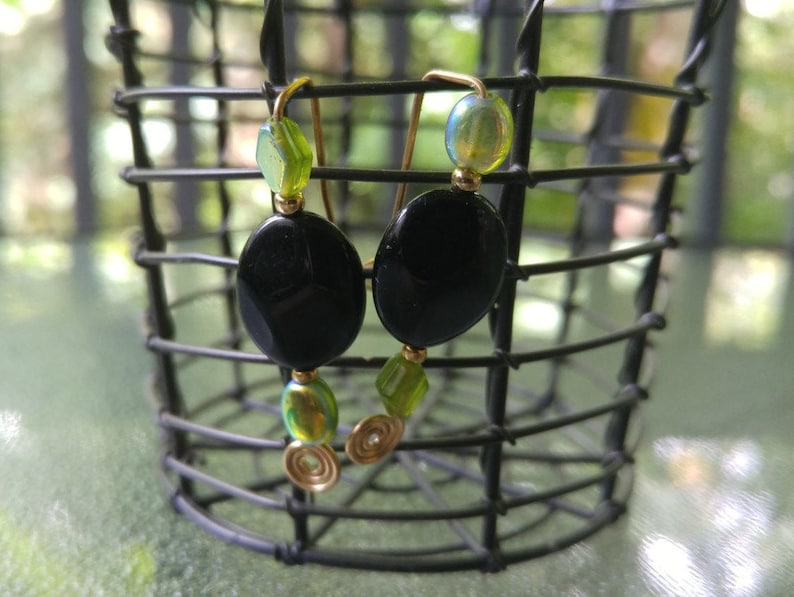 Green and Black Glass Bead Earring Pins Oval Earrings Gold image 0