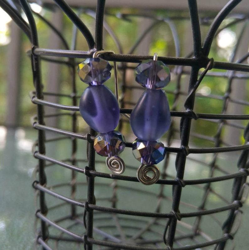 Purple Earrings Purple Glass Bead Earrings Purple Beads on image 0
