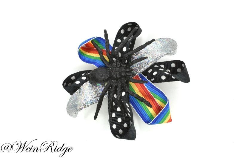 Spider and Rainbow Hair Barrette Rainbow Polka Dot Silver image 0