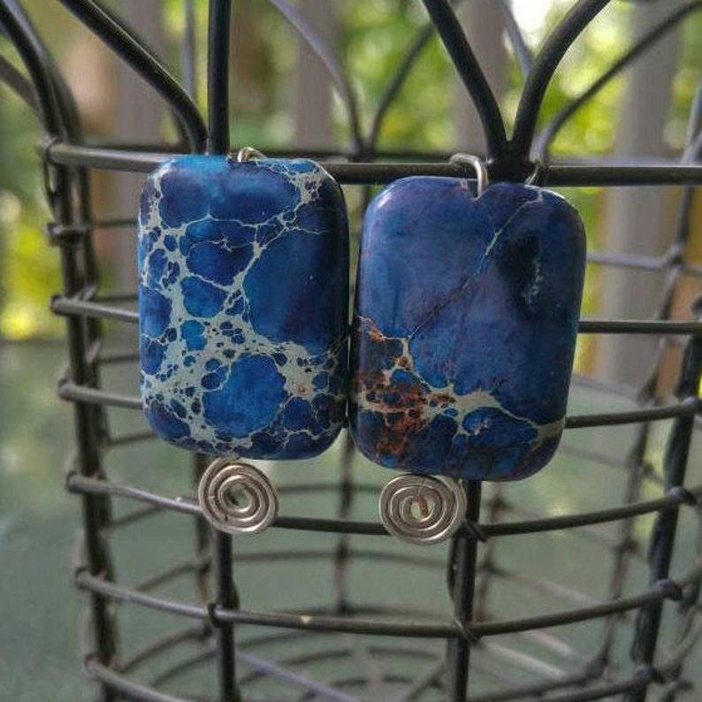 Blue Stone Earrings Jasper Speckled Rectangle Bead Earrings image 0