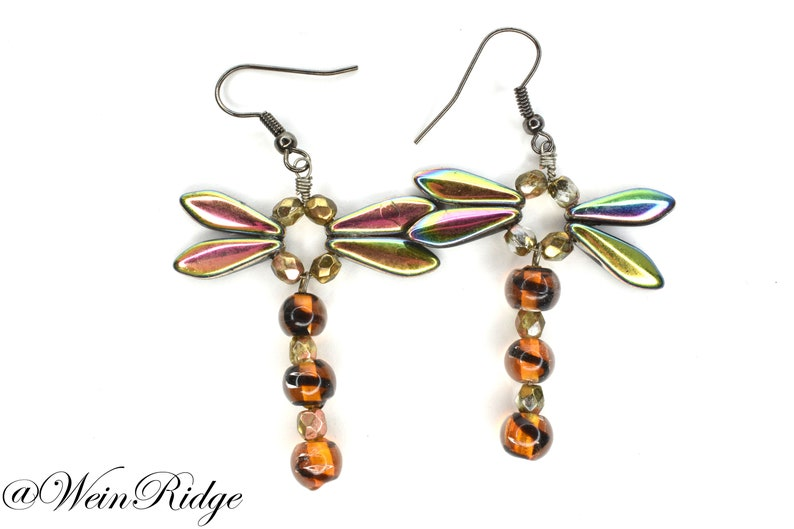 Dragonfly Dangle Earrings Orange Beaded Dragonfly Earrings image 0