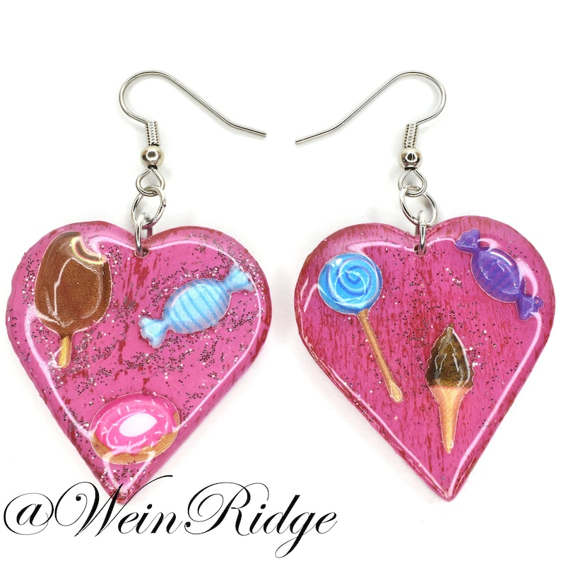 Sweet Heart Earrings Hand Painted Red and Pink Heart Earrings image 0