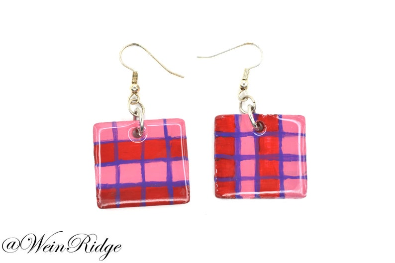 Hand Painted Pink Plaid Earrings Red Purple Pink Checkers image 0