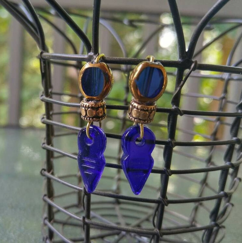Blue and Gold Earrings Blue Glass Earring Pins Gold Metal image 0