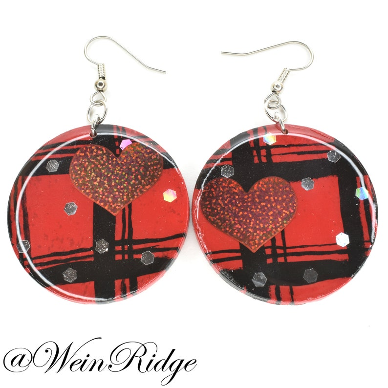 Hand Painted Red and Black Plaid Earrings with Hearts Red image 0
